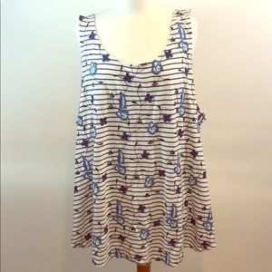 Sonoma Blue White Striped Floral Tank Top Shirt 3X